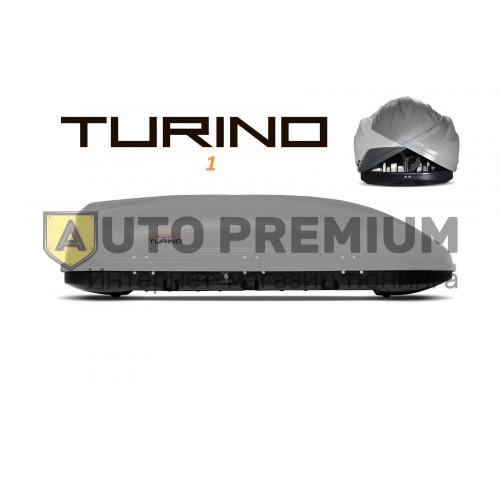 Автобокс на крышу Серый Turino 1 (410 л) Аэродинамический с двусторонним открыванием на крышу автомобиля